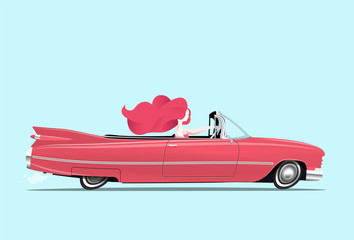 Papiers peints Cartoon voitures Redhead girl is driving a classic red cabriolet car. Woman driving. Cartoon styled vector illustration.