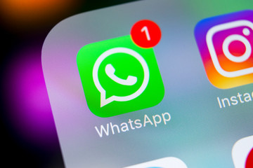 Sankt-Petersburg, Russia, March 6, 2018: Whatsapp messenger application icon on Apple iPhone X smartphone screen close-up. Whatsapp messenger app icon. Social media icon. Social network