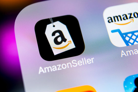 Sankt-Petersburg, Russia, March 7, 2018: Amazon Seller application icon on Apple iPhone X screen close-up. AmazonSeller app icon. Amazon Seller application. Social media icon