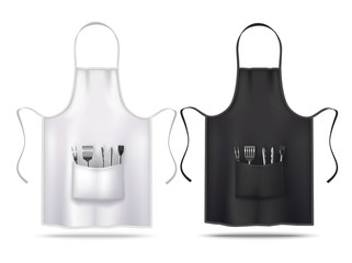 Black and White Apron Mockups with Grill Utensils in Realistic Style