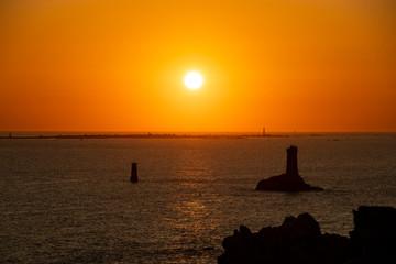 Sonnenuntergang am Pointe du Raz, Bretagne