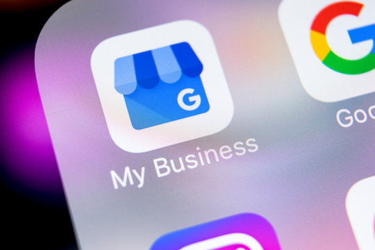 Sankt-Petersburg, Russia, March 7, 2018: Google My Business application icon on Apple iPhone X screen close-up. Google My Business icon. Google My business application. Social media network