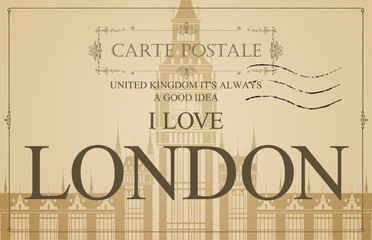 Retro postcard with words I love London and a postmark. Vintage vector card with the image of Westminster Palace and Big Ben, the famous British architectural landmarks