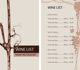 Vector wine list for restaurant or cafe with a branch of grapes, a grape vine and a price list in retro style
