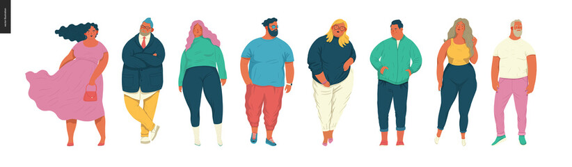 Body positive portraits set - hand drawn flat style vector design concept illustration of men and women, male and female figuers. Flat style vector icons set