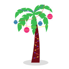 Christmas palm tree with garlands of tinsel and Christmas toys. Palm tree with green leaves. An alternative to traditional Christmas trees. Vector editable illustration