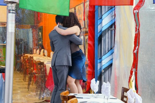 couple dancing to tango music, Buenos Aires, Latin America