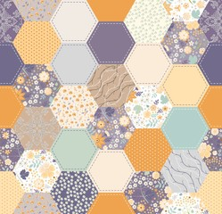 Seamless patchwork pattern in vintage colors. Beautiful print for fabric and textile.