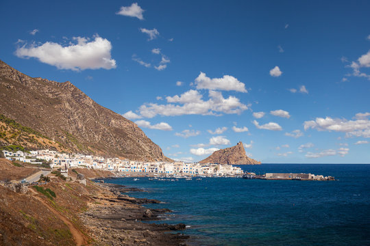 View of the village of Marettimo and Punta Troia, Egadi Islands, Italy