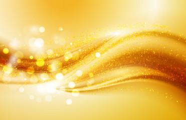 Beautiful Gold Satin. Drapery Background. Soft satin