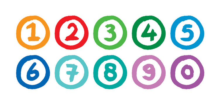hand drawing mathematical numbers. colorful numbers in round