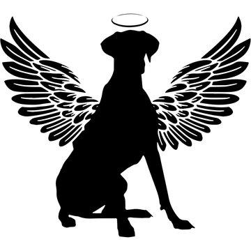 Pet Memorial, Angel Wings Great Dane Dog  Silhouette Vector