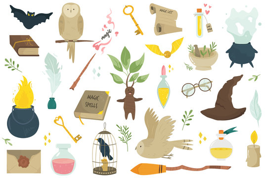 Big set of magical icons and items. Vector image