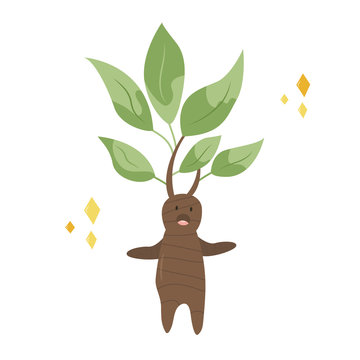 Funny screaming mandrake, a cute character design