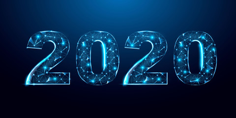 Happy 2020 new year banner design from lines, dots, triangles and particle. Geometric polygonal 2020 new year greeting card. Polygon vector wireframe concept. Fototapete