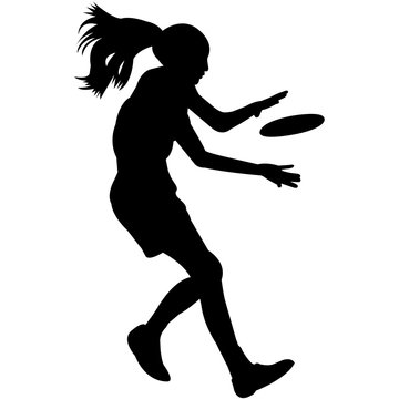 Frisbee Playing Silhouette Vector