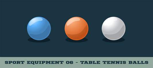 Vector table tennis balls icon. Game equipment. Professional sport, classic ping pong ball for official competitions and tournaments. Isolated illustration