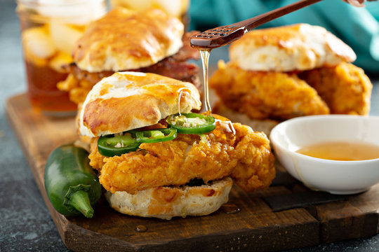 Breakfast biscuit sandwiches with fried chicken, traditional southern food