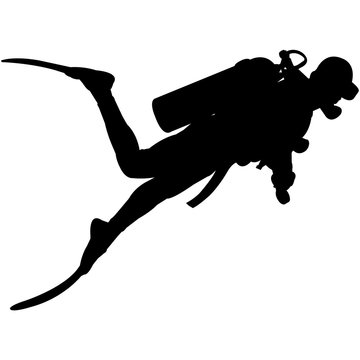 Scuba diving Silhouette Vector