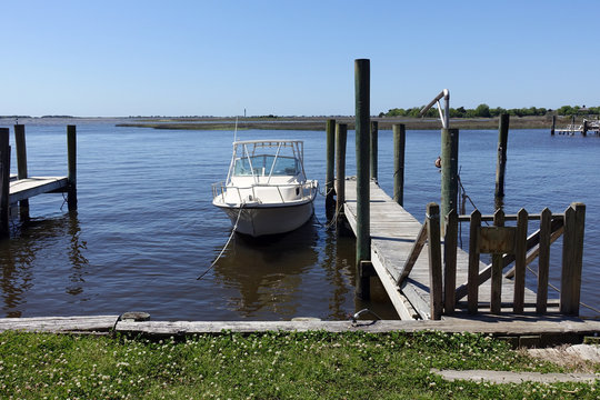 A Single Boat Docked in a Marina in Southport, North Carolina