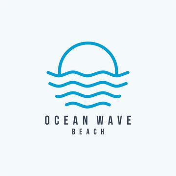 Water Ocean Wave Logo abstract design vector template. Aqua icon. Cosmetics Surf Sport Logotype concept.