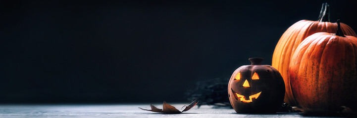 Jack o Lantern - autumn Halloween holiday concept background