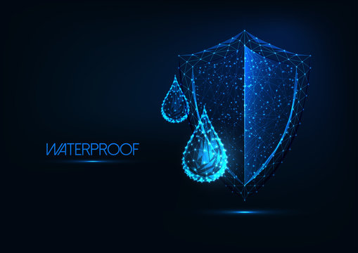 Futuristic waterproofing concept. Glowing low poly water drops and shield on dark blue background.