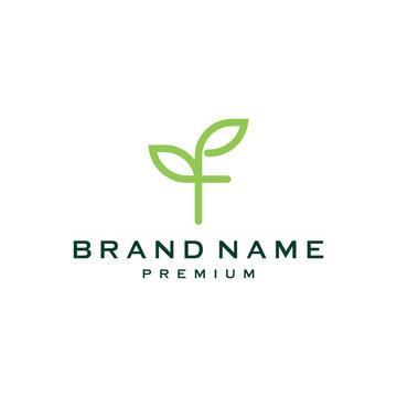 letter F company logo, clean design. ecology logo. letter F icon vector. leaf logo template element .