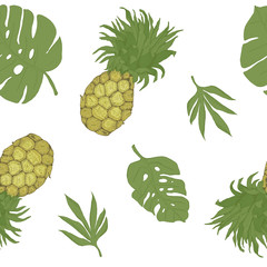 Seamless pattern, endless template with hand drawn pineapple and tropical leaves vector illustration