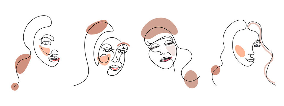 Set of four abstract face one line drawing. Portrait minimalistic style. Fine one line drawing abstract face. One line drawing abstract faces. Modern continuous line art