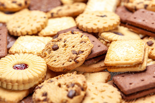 Assorted colse up slection of tea biscuits