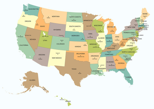 USA political map. Color vector map with state borders and capitals.