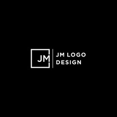 JM Letter Logo Design with white square and Sans Serif Font Vector Illustration. - Vector