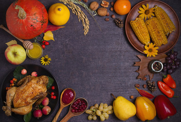 Chicken or turkey, autumn fruits and vegetables. Thanksgiving food concept. Harvest or Thanksgiving background. Flat lay, copy space, horizontal image