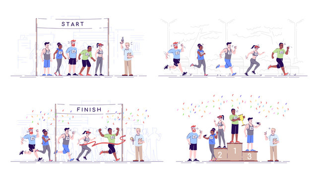 Marathon flat vector illustrations set. Competition stages. Endurance contest. City running championship. Start, running track, finish and rewarding. Sports participants isolated cartoon characters