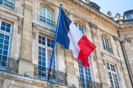 French flag on a building in Bordeaux