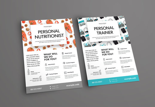 Flyer Layout Set with Fitness and Nutrition Imagery