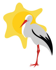 Stork in the sun, illustration, vector on white background.