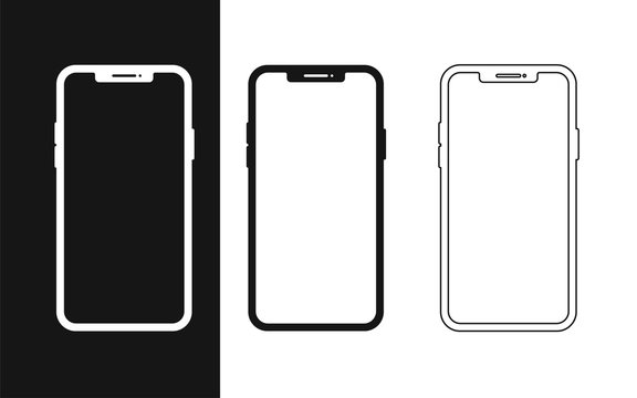 Set flat smartphone for web design. Mobile smartphone device gadget. Blank screen isolated. Mobile phone line icon. Mobile app vector illustration.