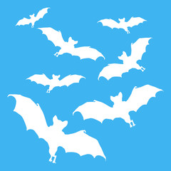 images white silhouettes of bats on blue background