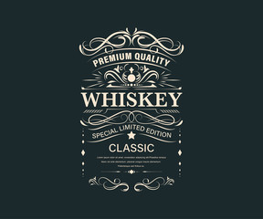 Vintage premium whiskey label banner badges set. Luxury decoration design. Collection banner.