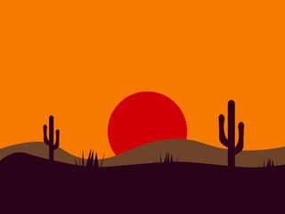 Desert picture, illustration, vector on white background.