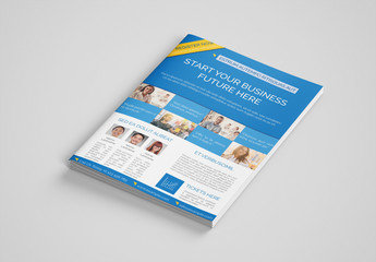 Business Event Brochure Layout with Blue Accents