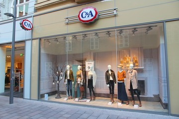 LUBECK, GERMANY - AUGUST 29, 2014: C and A fashion store in Lubeck, Germany. C-And-A has 1,575 stores in Europe.