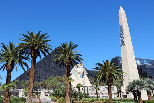 LAS VEGAS, USA - APRIL 14, 2014: Luxor resort view in Las Vegas. It is one of 10 largest hotels in the world with 4,408 rooms.