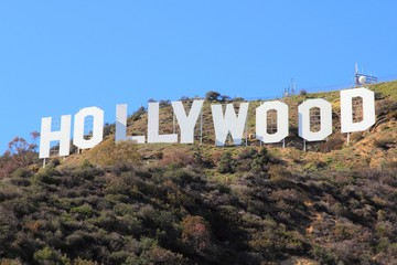 LOS ANGELES, USA - APRIL 5, 2014: Hollywood Sign in Los Angeles. The sign was originally created in 1923 and is a Los Angeles Historic-Cultural Monument.