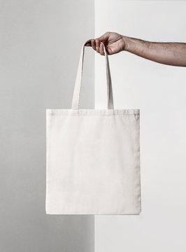 squared white tote fabric bag