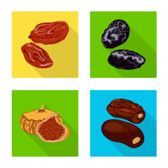 Fototapete - Vector illustration of fruit and dried logo. Set of fruit and food vector icon for stock.