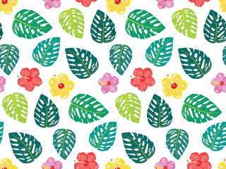 Colorful cute hibiscus flowers with monstera leaves, pattern for fabric/textile print