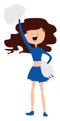 Cheerleader, illustration, vector on white background.